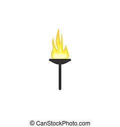 Torch flame vector illustration isolated on white background...