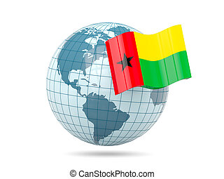 Globe with flag of guinea bissau 3D illustration