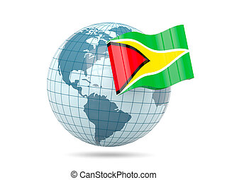 Globe with flag of guyana 3D illustration