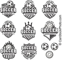 Vector Greyscale soccer logos - Collection of eight...