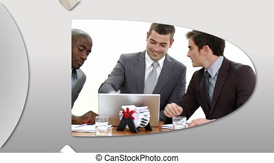 Self-assured business people - Montage presenting...