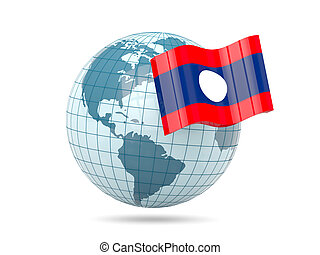 Globe with flag of laos 3D illustration