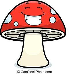 Magic Mushroom Smiling - A cartoon magic mushroom happy and...