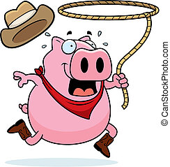 Rodeo Pig - A happy cartoon rodeo pig with a lasso.