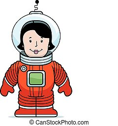Woman Astronaut - A happy cartoon woman astronaut in a...