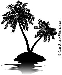 Palm Tree on Island Silhouette - Black silhouette of a...