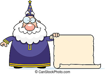 Wizard Scroll - A happy cartoon wizard with a scroll.