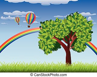 Tree on grass field - Green grass field with a tree, rainbow...