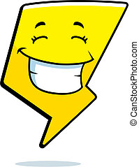 Lightning Bolt Smiling - A cartoon lightning bolt happy and...