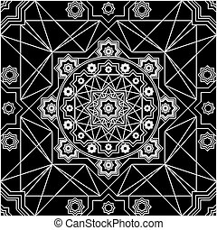 Vector seamless pattern in Eastern style. Vintage contrast element for design. Ornamental lace tracery on light background. Ornate floral decor for wallpaper. Endless  texture. Outline pattern fill.
