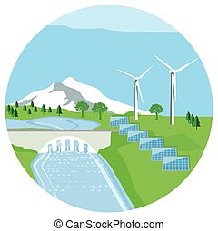 Alternative Energieeps - Solar plant, hydropower plant, wind...