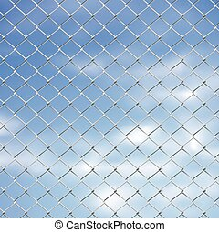 Wire Fence Against Sky - Metal wired fence against blurry...