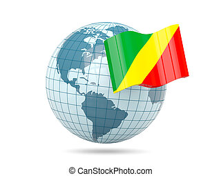 Globe with flag of republic of the congo. 3D illustration