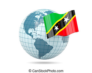 Globe with flag of saint kitts and nevis. 3D illustration