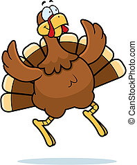 Turkey Jumping - A happy cartoon turkey jumping and smiling.