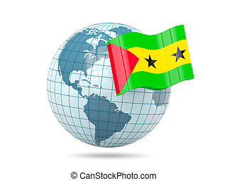 Globe with flag of sao tome and principe 3D illustration