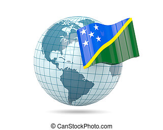 Globe with flag of solomon islands 3D illustration