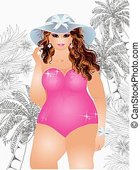 Plus size sexy summer girl, vector illustration