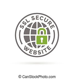 Secure SSL website icon. Grey globe with green padlock sign.