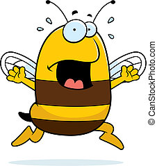 Bee Panic - A cartoon bee running in a panic.