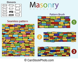 Set of seamless textures. - Colored seamless pattern and 3...