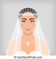 beautiful smiling bride in veil vector illustration - eps 10...