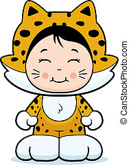 Jaguar Girl - A happy cartoon girl in a jaguar costume.