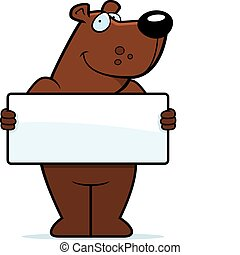 Bear Sign - A happy cartoon bear with a sign