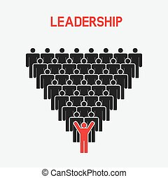 Leadership and teamwork concept. one man with raised hands -...