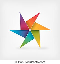 rainbow pinwheel symbol. vector illustration - eps 10