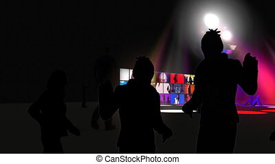 Animation presenting young people dancing in high definition...