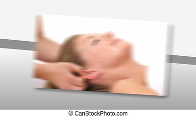 Montage of a relaxed woman enjoying a Spa treatment in high...