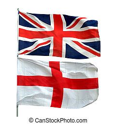 UK Flag - Flags of UK and Englan - isolated over white...
