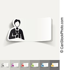 realistic design element. reporter - reporter paper sticker...