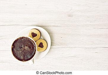 咖啡, 權利, 心, 杯子, 正文, 二, 形狀, 果醬, 黑色, 地方, 餅干