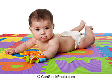 Cute baby laying on belly - Beautiful cute happy Caucasian...
