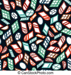 dark seamless pattern color isometric window