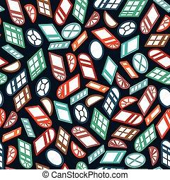 等大, 色, パターン,  seamless, 暗い, 窓