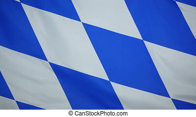 Bavaria Flag real fabric Closeup 4K - Textile flag of...