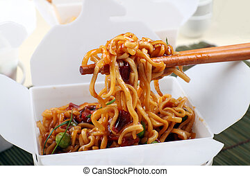 Take Away BBQ Noodles - Take away BBQ egg noodles on...