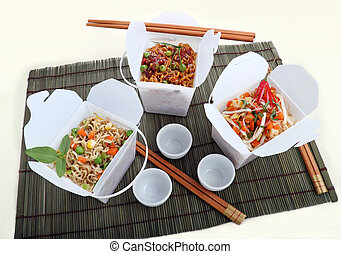 Take Away Noodles - BBQ egg noodles, vegetables noodles and...