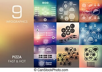 pizza infographic with unfocused background - pizza vector...