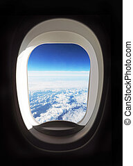 airplane porthole - View outside of the airplane porthole