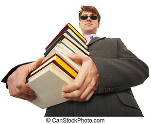 Self-satisfied person in black glasses with books - The...