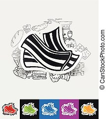 bacon paper sticker with hand drawn elements - hand drawn...