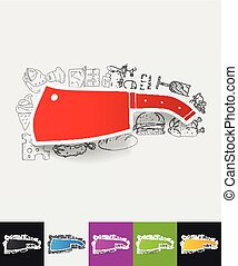 knife paper sticker with hand drawn elements - hand drawn...