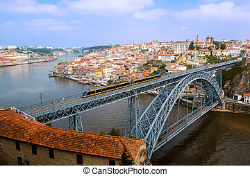 Panoramic of Porto city, D. Luis I Bridge view