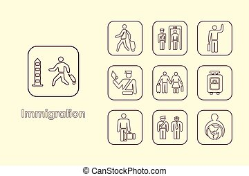 Set of immigration simple icons - It is a set of immigration...