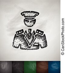 commander icon Hand drawn vector illustration Chalkboard...