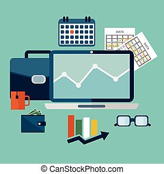 simple graphic illustration in trendy flat style with objects used in everyday life of modern people isolated on bright blue background for use in design